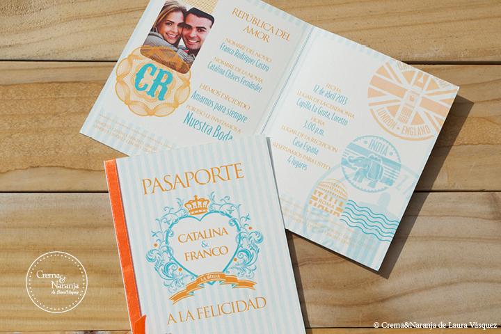 pasaporte cremaynaranja medi carta turqueza naranja
